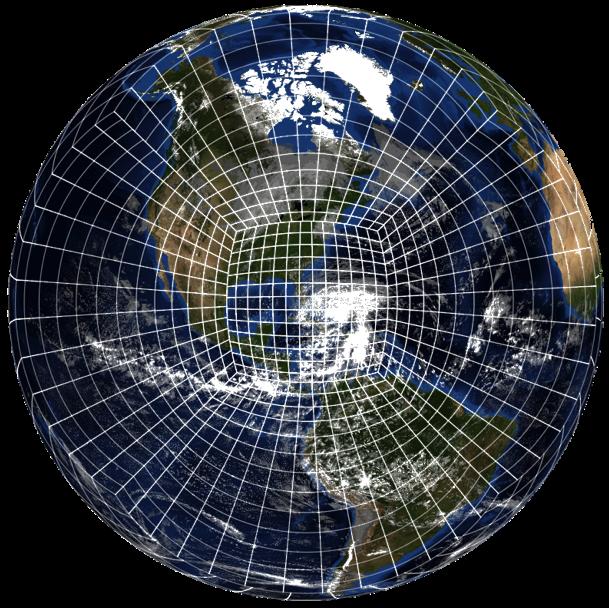 Le noyau dynamique FV3 divise l'atmosphère en petits cubes disposés sur une grille et calcule les changements de vents et de pression dans chaque cube dans le cadre de la prévision d'un modèle. Les modèles utilisant le FV3 ont la capacité de zoomer sur les systèmes de tempête pour améliorer les prévisions. Ici, nous voyons une image satellite de l'ouragan Sandy avec une version étirée de la grille de sphères cubiques de FV3, zoomée sur l'ouragan.