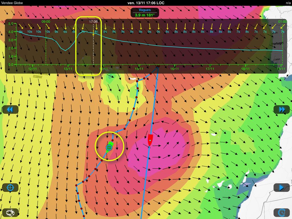 Position sur le routage à la date du vendredi 13. Vagues Météo France le 12 novembre 00h00 UTC