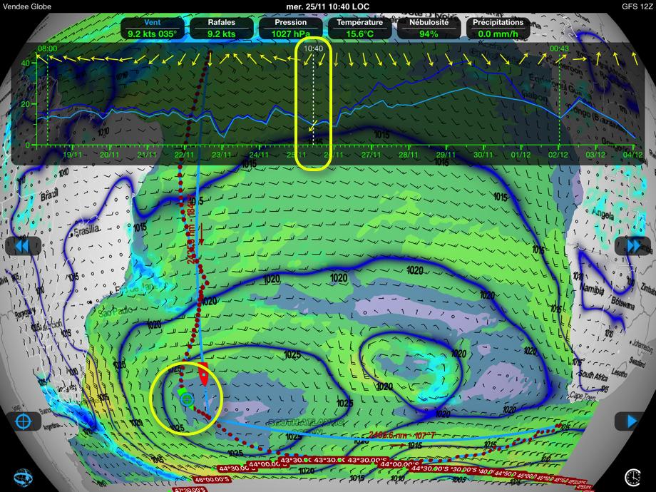 Position prévue de l'anticyclone de Sainte-Hélène vers le 25 novembre.