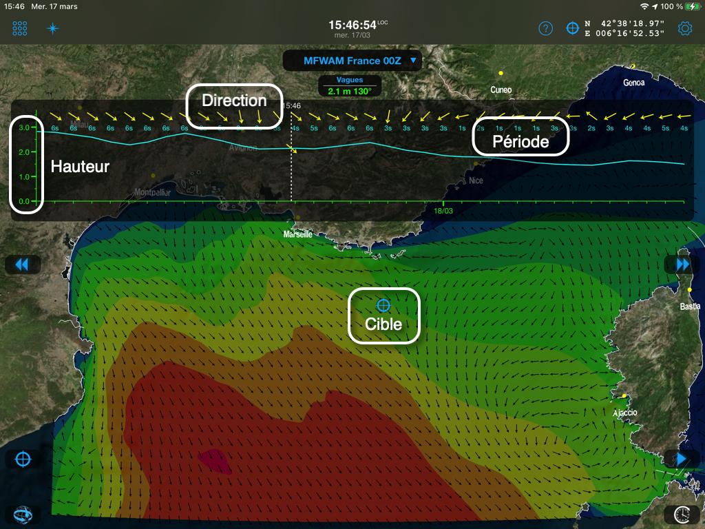 Les données affichées dans Weather4D sur le météogramme et par champs de couleurs (isoplages par pas de 0,50m).