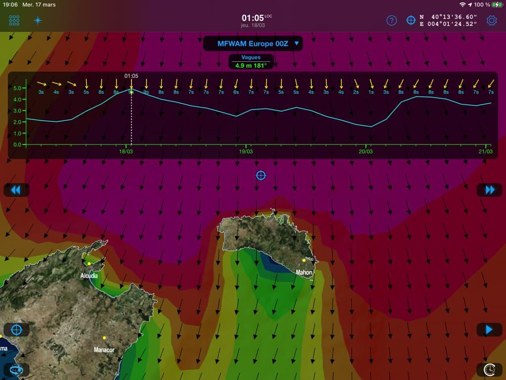 La mer de L=100m va lever sur la ligne de sonde 50m au nord de Minorque et déferler à la côte.
